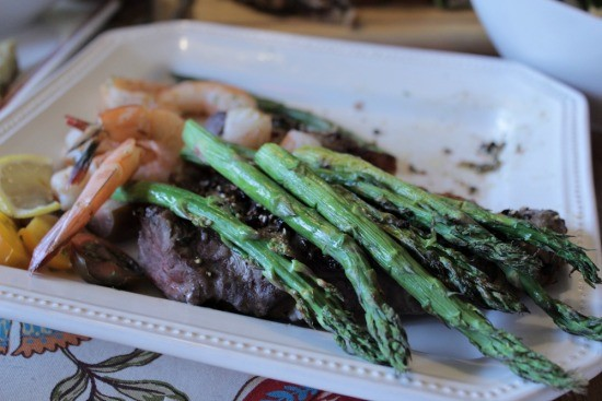 Steak, shrimp & asparagus - All cooked at the same time in the Ready Grill. Picture was taken after we had dug in!
