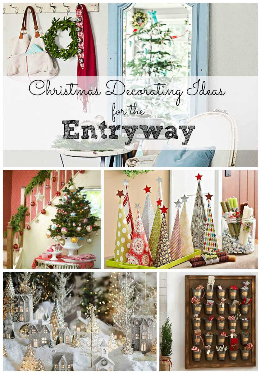Christmas decorating ideas for the entryway for Foyer christmas decorating ideas