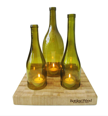 bottles and wood hurricane trio set