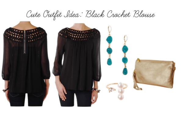 humble chic new york black crochet blouse