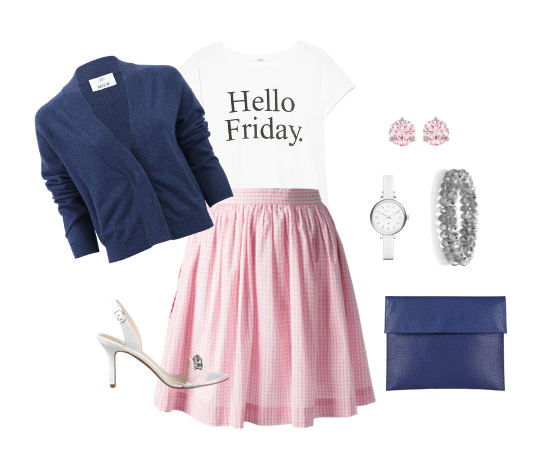 pink gingham skirt outfit