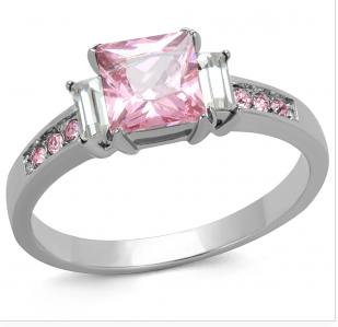 pink princess cut ring