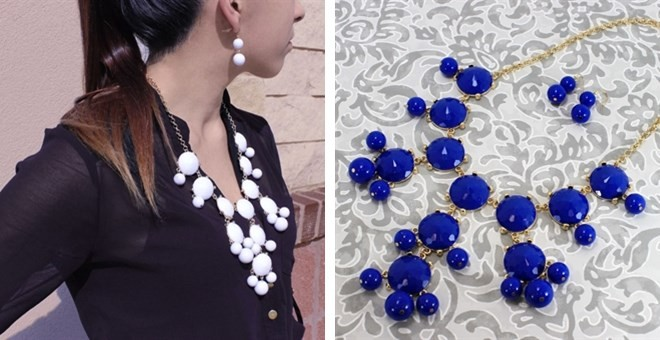 bubble necklace and earrings