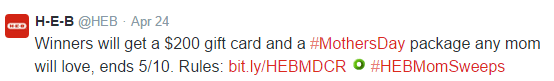 HEB Tweet to win sweeps