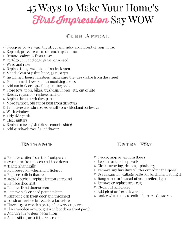 Homes First Impression Printable Checklist
