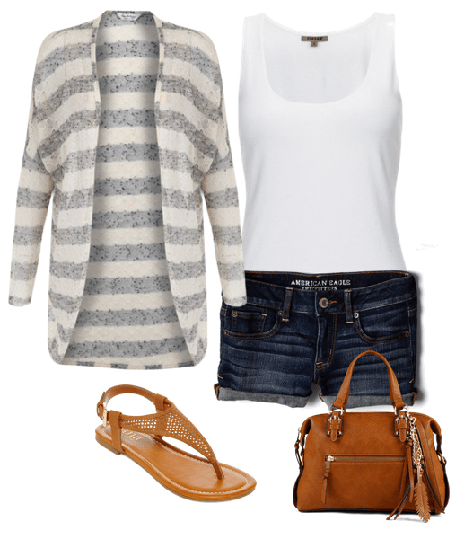 The hot weather has arrived and now you're in search of some summer shorts outfits! I love wearing a long cardigan with shorts. It adds such a pretty element to a basic pair of denim shorts and dresses it up. You can dress this up or down, making it more casual, by swapping out the shoes. Wear wedges instead of sandals and add a few more accessories to give it a classy look.