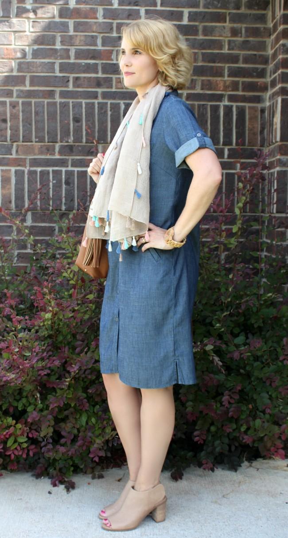 Chambray Shirt Dress Outfit-04