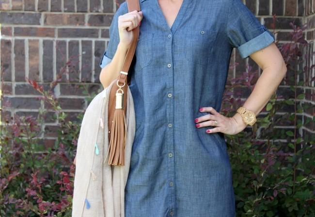 chambray shirtdress outfit