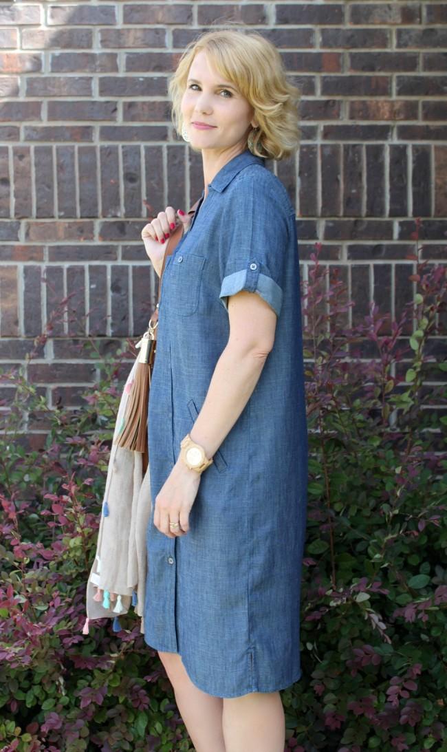 Chambray Shirt Dress Outfit-06