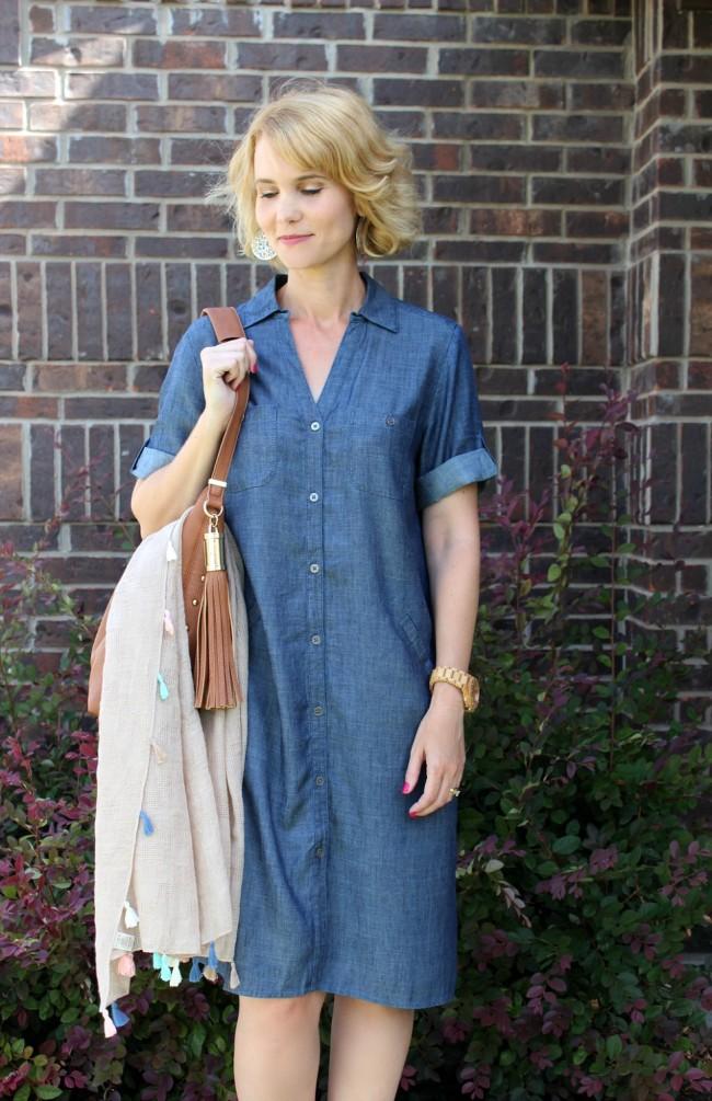 Chambray Shirt Dress Outfit-08