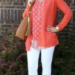 White Jeans Outfit Featuring A Pop of Coral with J. Jill