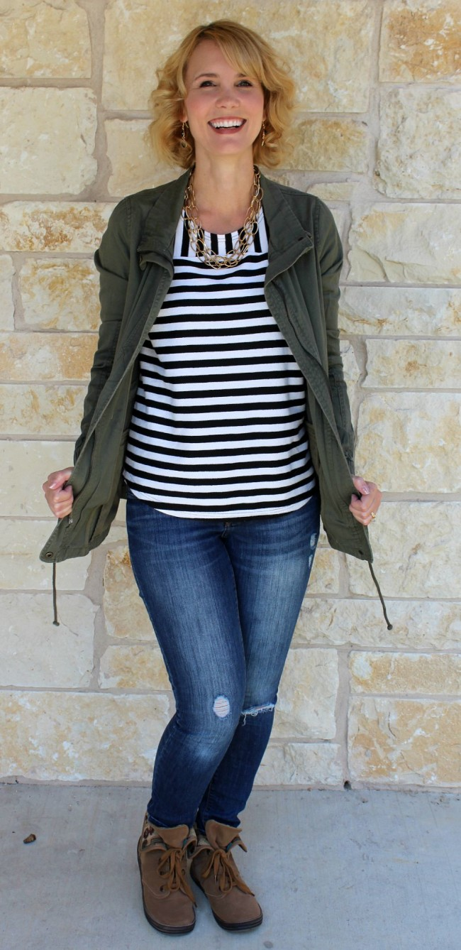 olive jacket outfit