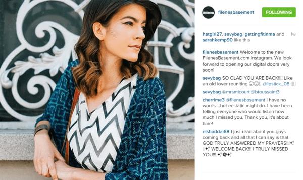 Filenes Basement Instagram