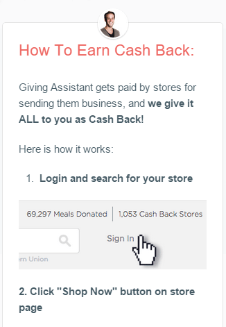 Giving Assistant cash reward loyalty program