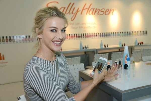 Julianne Hough tries out the new ManiMatch app. With the Sally Hansen ManiMatch App, users can try on over 200 Sally Hansen nail polish shades in real time, on their nails, before they buy. It's just what your nails have been asking for! See how to use it and where to download it, plus check out the gorgeous fall nails and colors.
