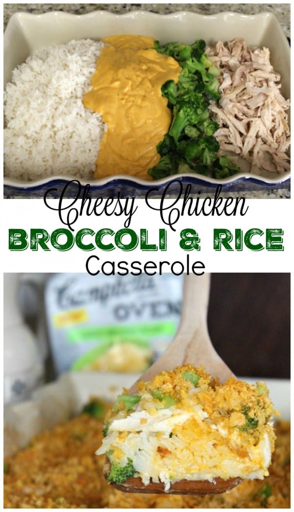 Looking for some easy rotisserie chicken recipes? This Cheesy Chicken, Broccoli & Rice Casserole is so easy to prepare for a weeknight meal. Just shred the chicken, add rice, broccoli and a special sauce and you're good to go. How does it taste? As good as it looks!