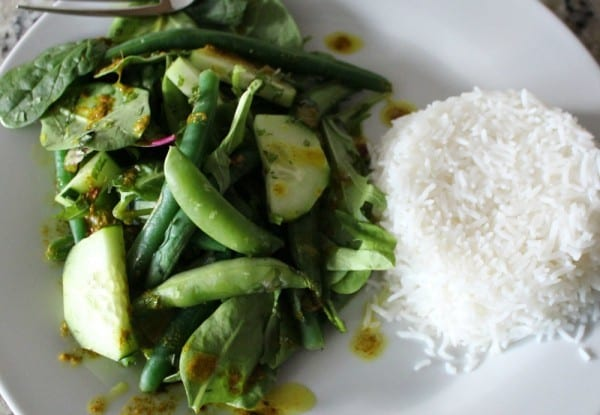Kaffir Lime Salad- made with spices from Raw Spice Bar and served with Veetee rice. A quick, healthy and flavorful meal.