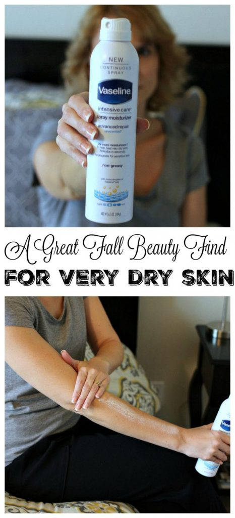 A great fall beauty find for very dry skin. In the fall, we add more layers, are subjected to the drying effects of heaters, take hotter showers - all of which make our skin very dry. The answer? A fast to apply, quick to absorb, moisturizer that helps heal very dry skin.