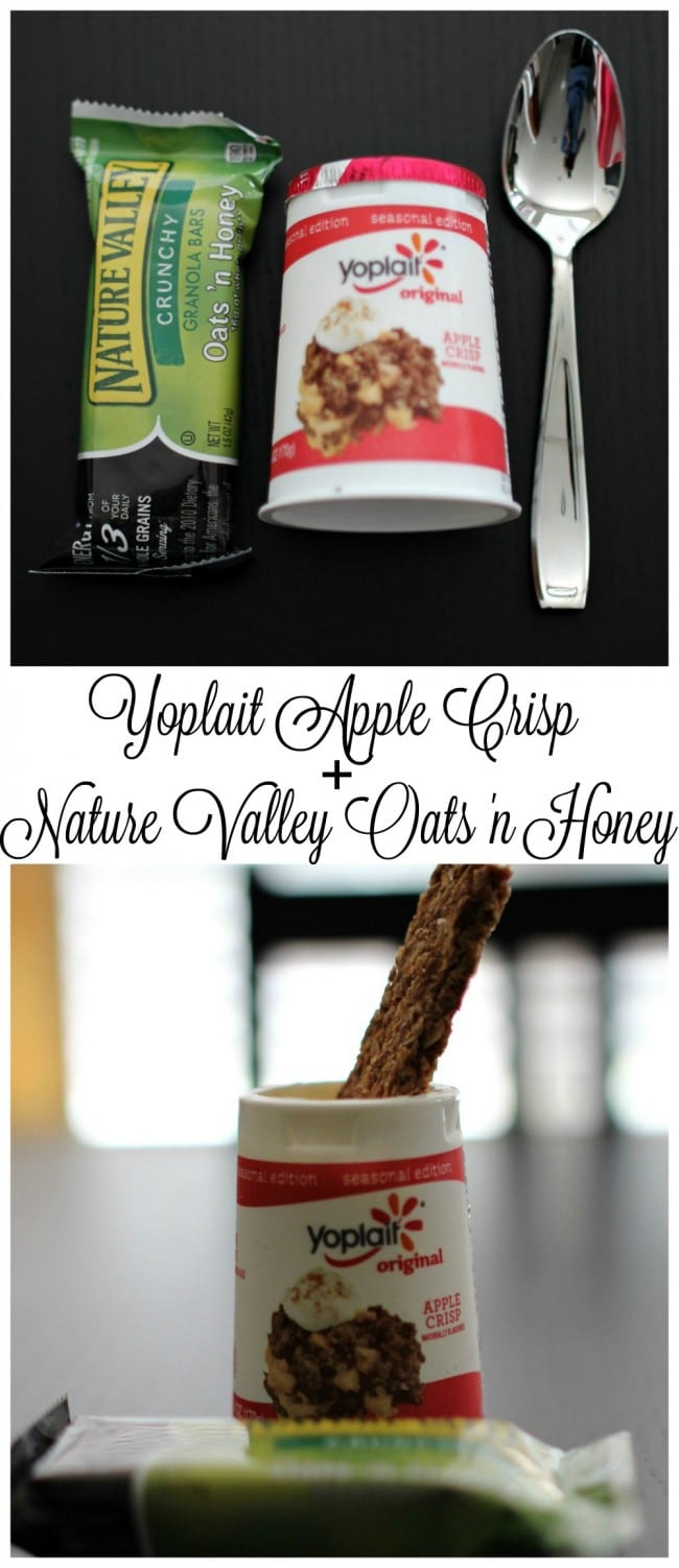 Yoplait Apple Crisp yogurt and Nature Valley Crunchy Oats 'n Honey is the perfect snack pairing for fall. They taste so good together and are perfect when I'm craving something sweet.
