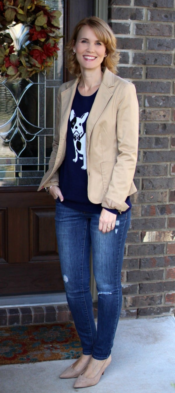 Fall outfit idea - pair a quirky sweater with a blazer, jeans, and heels for a fun fall look.