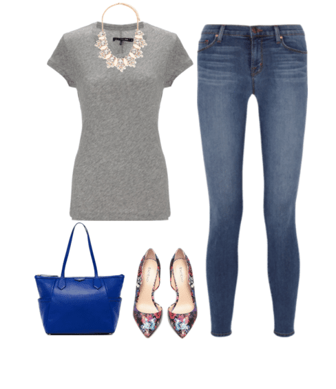 These 7 t-shirt outfits all started with the same gray t-shirt and jeans. It's fun to take basics and add layers, accessories and footwear to spruce them up a bit and make you feel like you have a whole new wardrobe