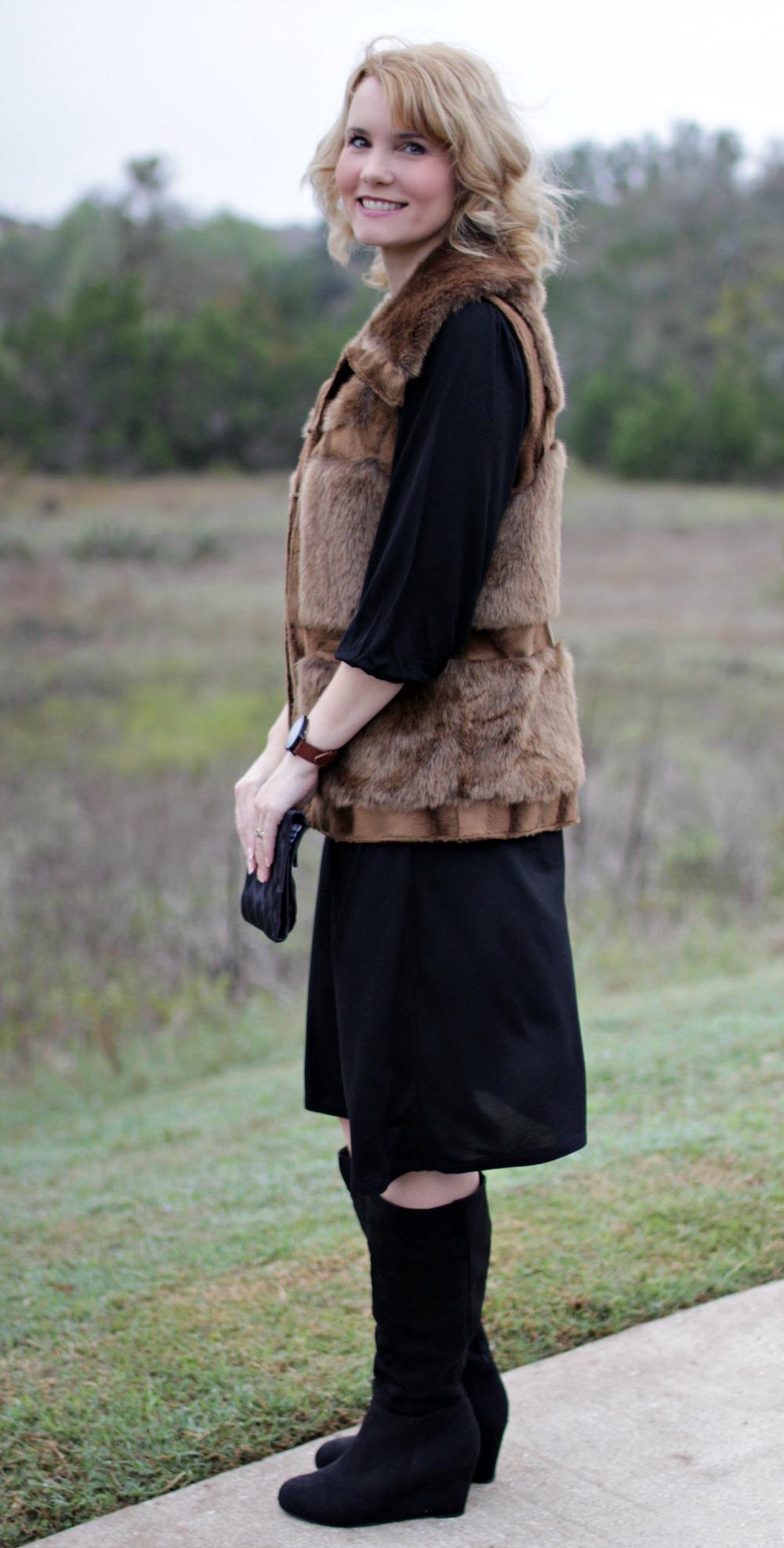 fur vest outfit ideas mom fabulous