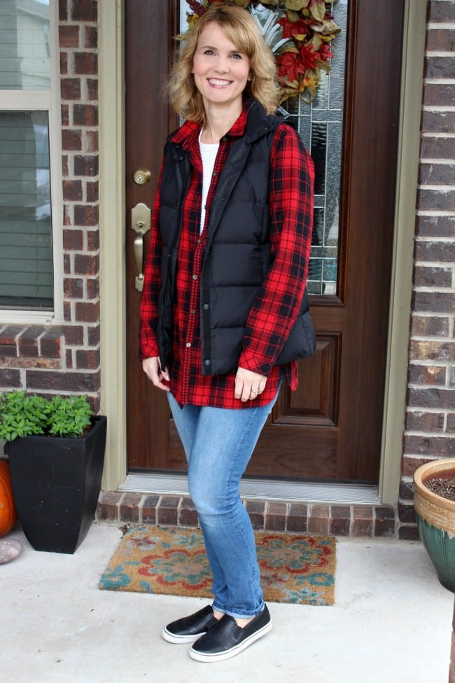 Are you looking for red plaid shirt outfit ideas? I created 3 different outfits with one shirt and I love the results. These are easy to pout together, casual outfits that anyone can wear.