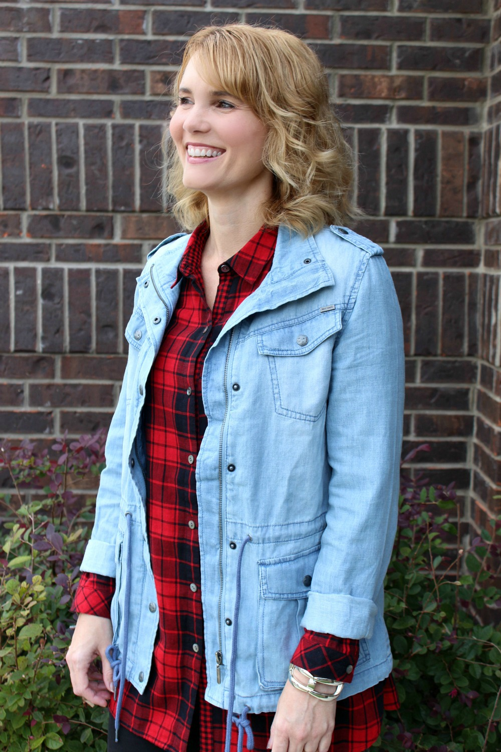 one red plaid button up shirt  3 ways to wear it  mom