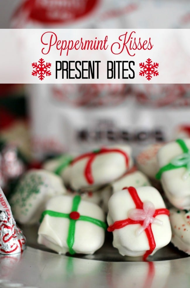 Peppermint Kisses Present Bites- These little bites are fun to make, delicious to eat and are a peppermint party for your taste-buds. With only four easy to find ingredients, these bites are incredibly easy to make!