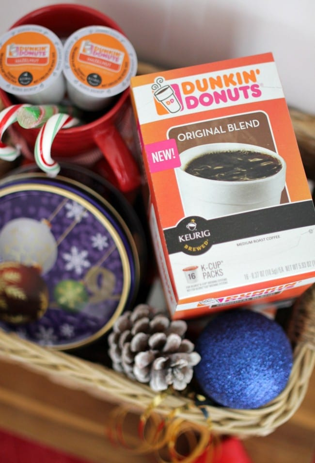 Coffee gift basket idea - put together a gift for your coffee loving friend, family member or kids' teachers and include coffee, cookies, a mug and candy.