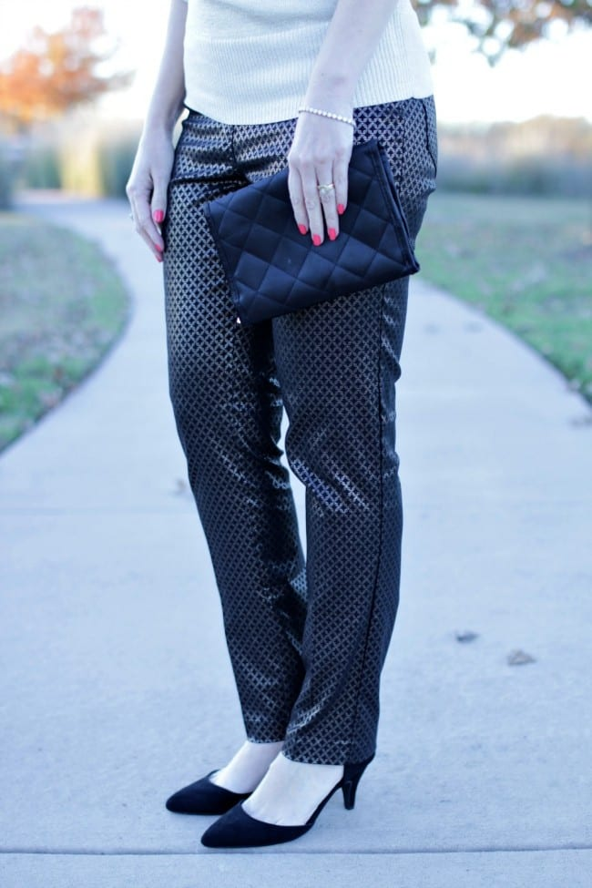 Looking for an office party outfit? How about a pair of fancy pants, a glittery sweater and strappy heels?