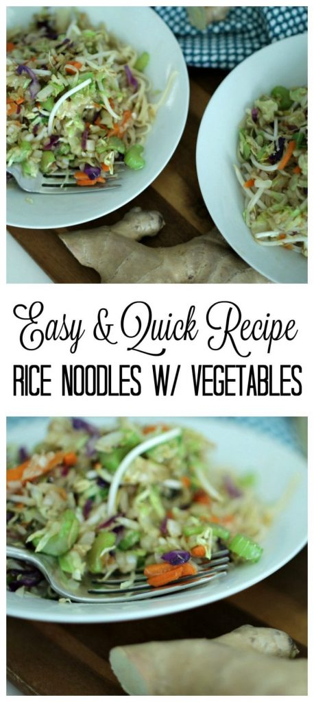 This rice noodles with vegetables recipe is easy, quick and oh so good. The sauce that goes with it, pulls it all together.