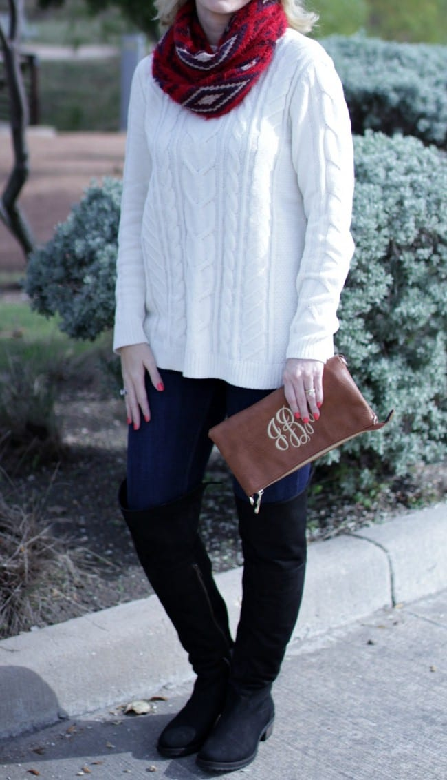 Pair a white chenille sweater with jeans, OTK boots and a brightly colored scarf for a pop of color.
