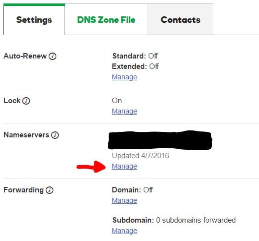 GoDaddy Manage Nameservers