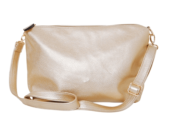 Vegan Leather Crossbody Bag in Gold