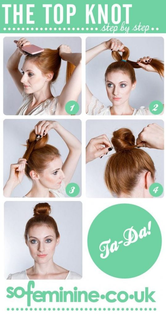 I've always wondered how to do a top knot and make it look like I didn't even try. You know the look I'm talking about? Here are a few how-to's for you.