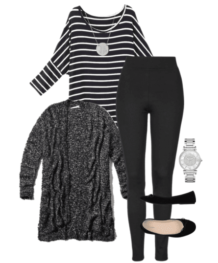 Cute outfit ideas of the week featuring long cardigan outfit ideas. Pair a long cardigan with a striped tunic and leggings.