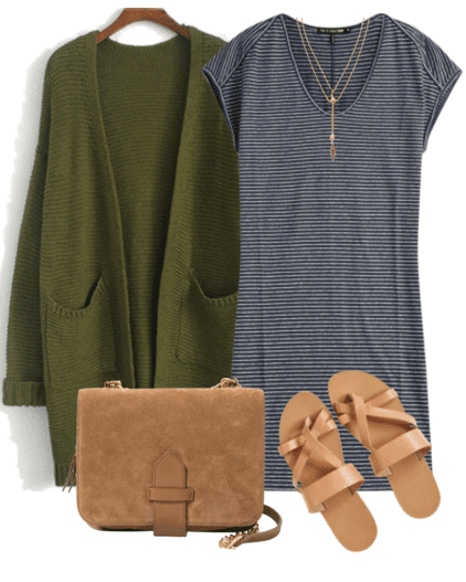 Cute outfit ideas of the week - pair a long cardigan with your favorite t-shirt dress and sandals for a comfy and cute spring look.