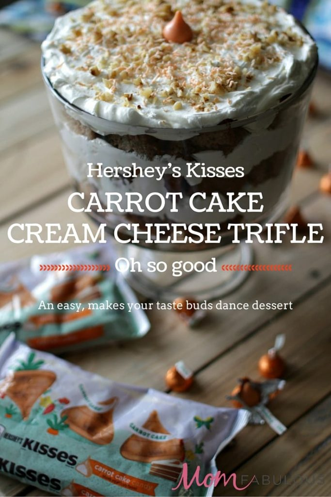 This Carrot Cake Cream Cheese Trifle features an important and tasty ingredient that will make your taste-buds dance -- Hershey's Kisses Carrot Cake Candy!