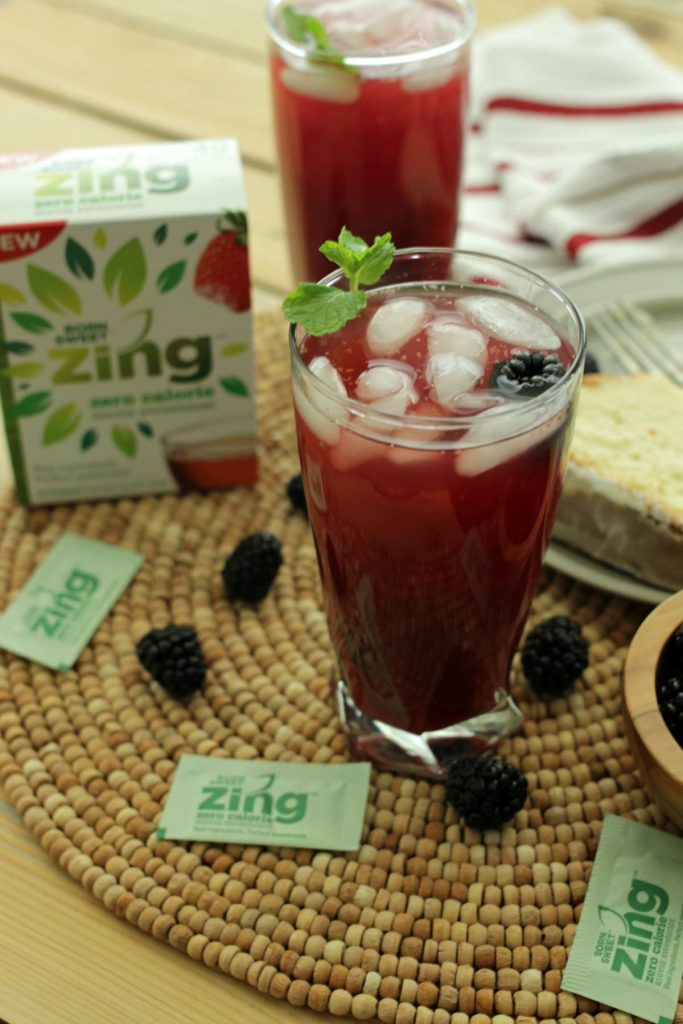 It's almost iced tea season, which is a big deal in the South! To satisfy your sweet tooth and iced tea craving, whip up a pitcher of this Blackberry Mint Iced Tea perfectly sweetened with Zing Zero Calorie Stevia Sweetener.