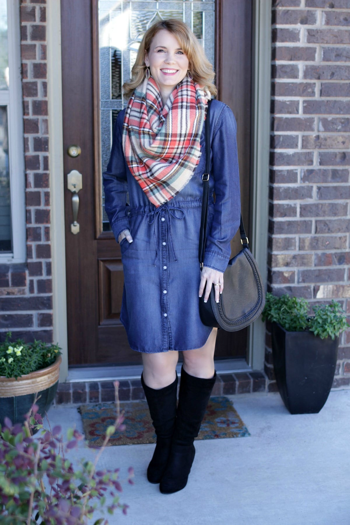 Denim Dress Outfit Add A Blanket Scarf And Tall Wedge Boots For Fun Fall