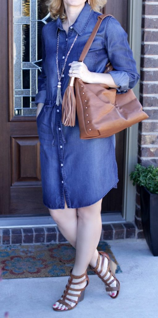 Denim Dress Outfit - wear a pair of caged wedge sandals and a long tassel necklace for a fun spring outfit idea.