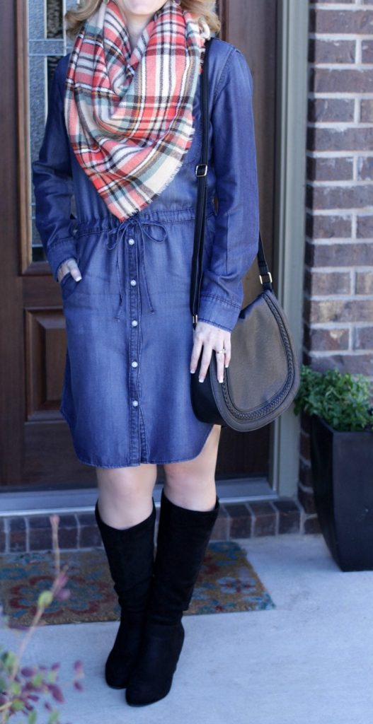 Denim Dress Outfit - Add a blanket scarf and tall wedge boots for a fun fall look.