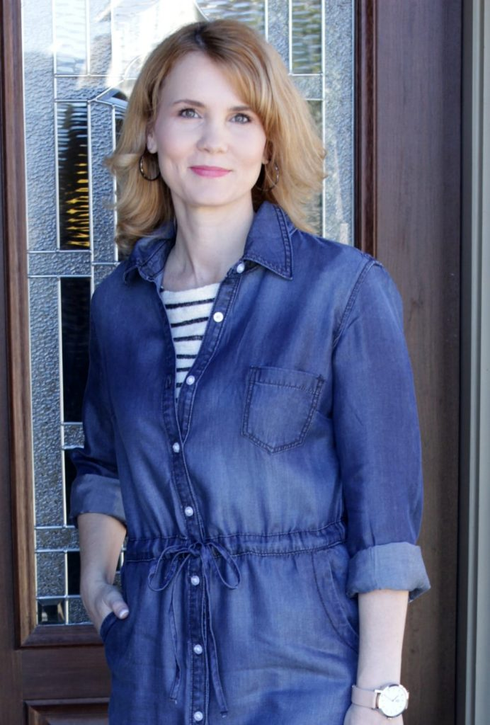 Denim Dress Outfit - wear a striped shirt under your dress to add another layer and pattern.