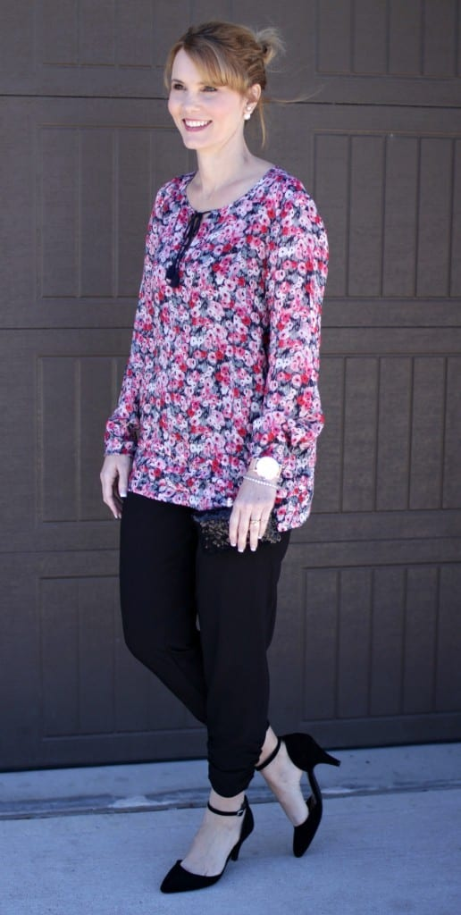 A dressy floral shirt outfit perfect for the office or date night.