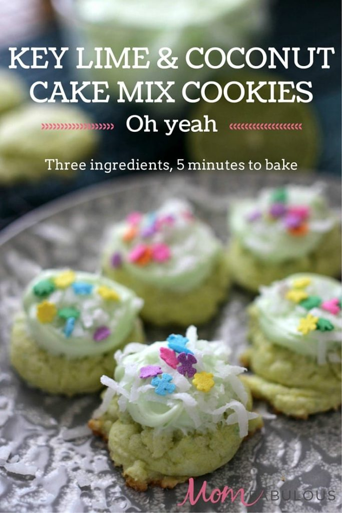 Key Lime & Coconut Cake Mix Cookies -- The cookies require only 3 ingredients to make and about 5 minutes to bake. Add some icing and coconut and you have one delicious cookie!