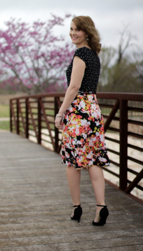 Easter dress from Metrostyle -- This Mixed Media Dress is the easiest way to mix up prints. The bodice features polka-dots and the skirt is floral. It's all one piece and so comfortable and flattering.