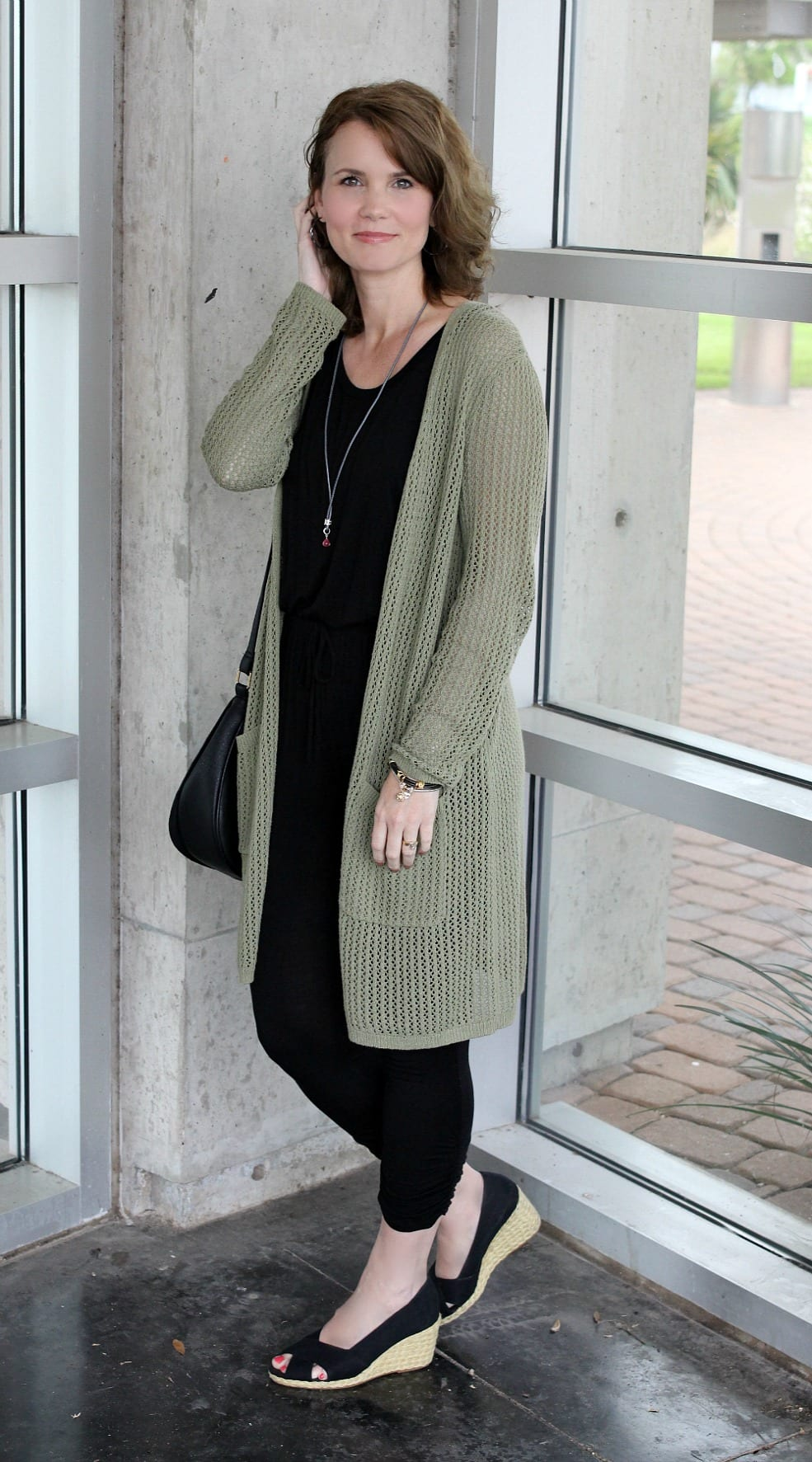 Casual outfit idea - black jumpsuit, long cardigan, wedges and jewelry. Jewelry is from Endless Jewelry.