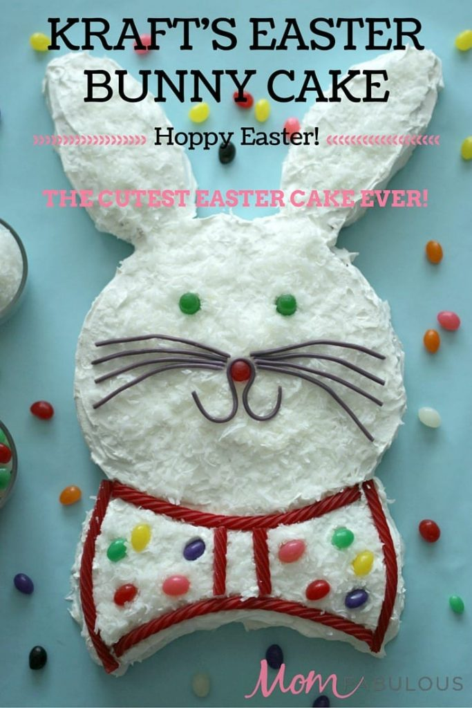 If you want to make an Easter dessert for your kids, co-workers, a party or just because, do I have the cake for you. This Bunny Cake from Kraft is guaranteed to put a smile on everyone's face. I mean, just look at it!