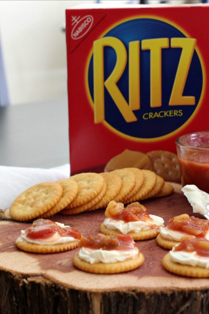 #StackItUp with this Ritz Cracker snack idea: Cream Cheese & Mango Salsa RITZwich. YUM.